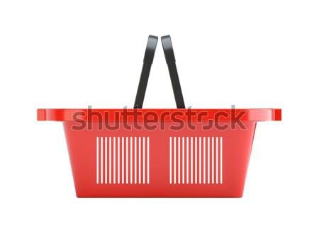 Piros műanyag üres bevásárlókosár 3d illusztráció izolált Stock fotó © cherezoff