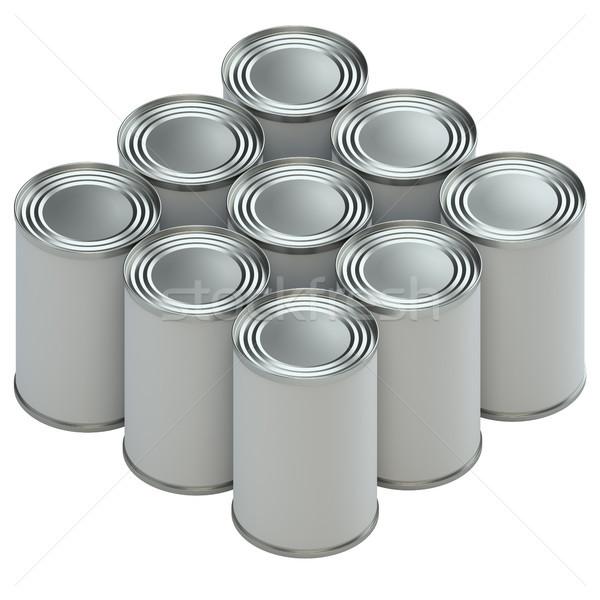 группа металл олово белый бумаги Этикетки Сток-фото © cherezoff