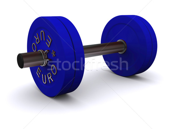 Stock photo: Blue dumbbell on a white background