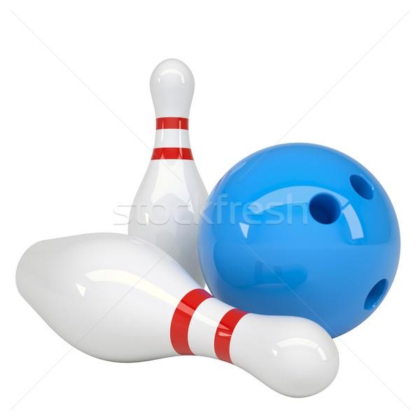 Bowling ball odizolowany oddać biały zabawy piłka Zdjęcia stock © cherezoff