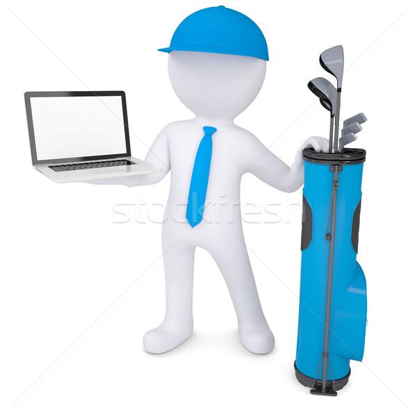 3D fehér férfi tart laptop táska golfütők Stock fotó © cherezoff