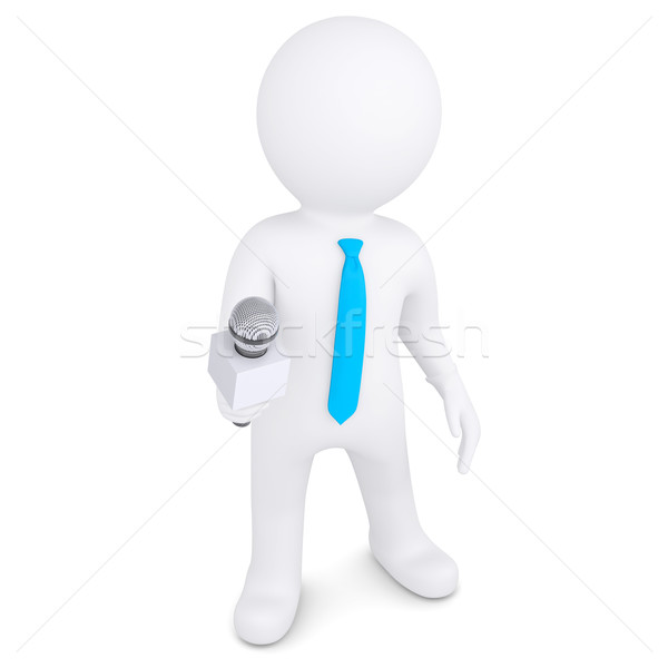 3d white man with a microphone Stock photo © cherezoff