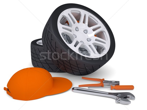 Car wheel and tools Stock photo © cherezoff