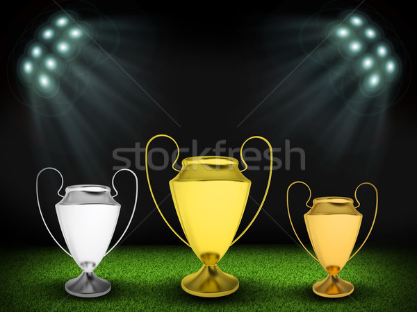 Three cups in the middle of field Stock photo © cherezoff