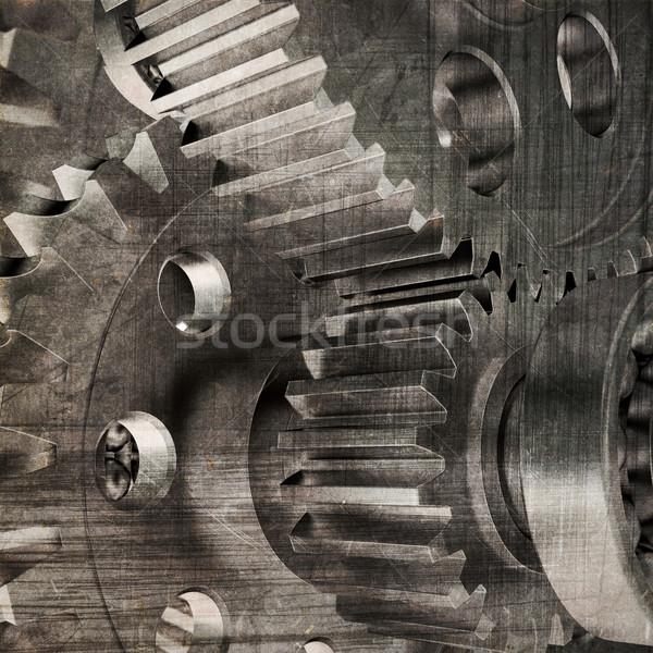 Stock fotó: öreg · sebességváltó · sötét · grunge · csapatmunka · ipar
