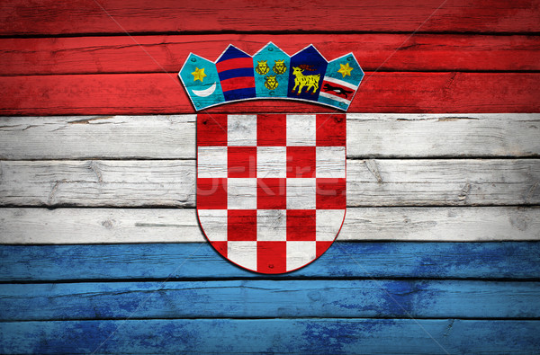 Croatian flag painted on wooden boards Stock photo © cherezoff