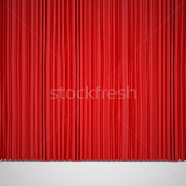 Geschlossen rot Vorhang Rampenlicht Licht Hintergrund Stock foto © cherezoff