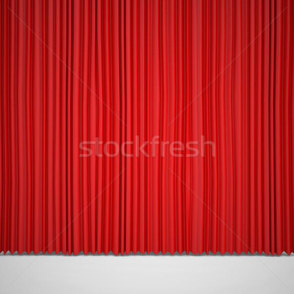 Closed red curtain lit Spotlight Stock photo © cherezoff