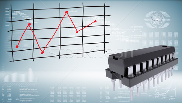 Microchip and graph of price changes Stock photo © cherezoff