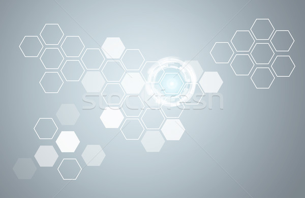 Stock photo: Transparent hexagons and glow circles
