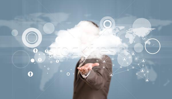 Işadamı takım elbise bulut dünya haritası ağ Stok fotoğraf © cherezoff