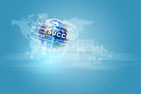 Earth with business words and world map Stock photo © cherezoff
