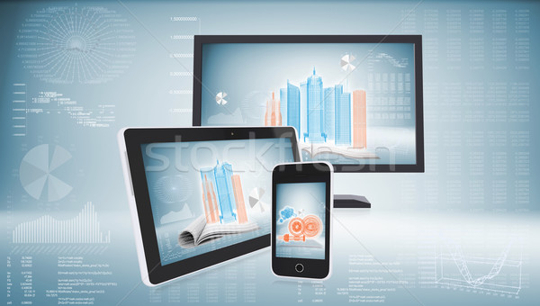 Monitor, tablet pc and smart phone Stock photo © cherezoff