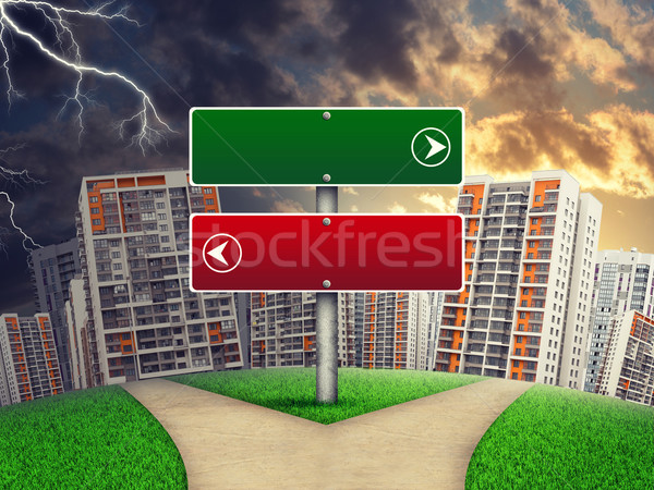 Blank route pointer against line of high-rise buildings, curved Earth Stock photo © cherezoff