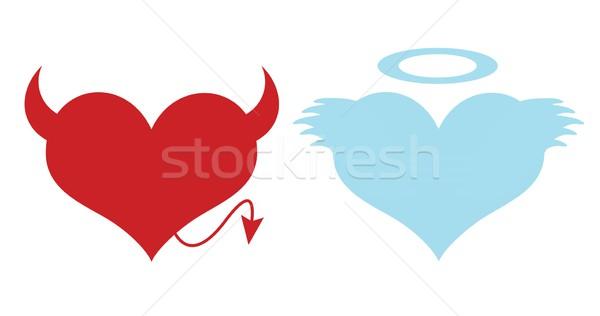 Kırmızı mavi kalpler sevmek kalp Stok fotoğraf © cherezoff