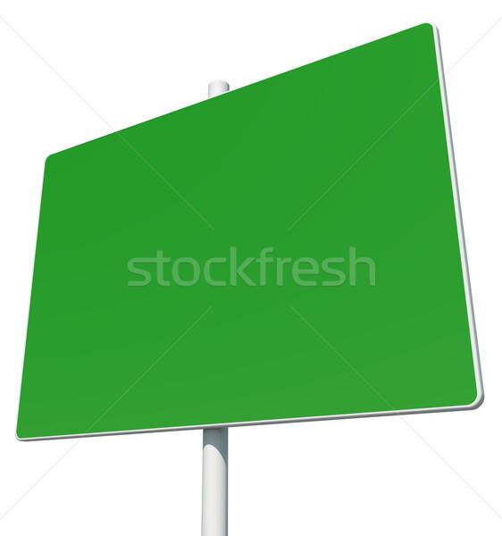 Grande retângulo verde placa sinalizadora isolado branco Foto stock © cherezoff