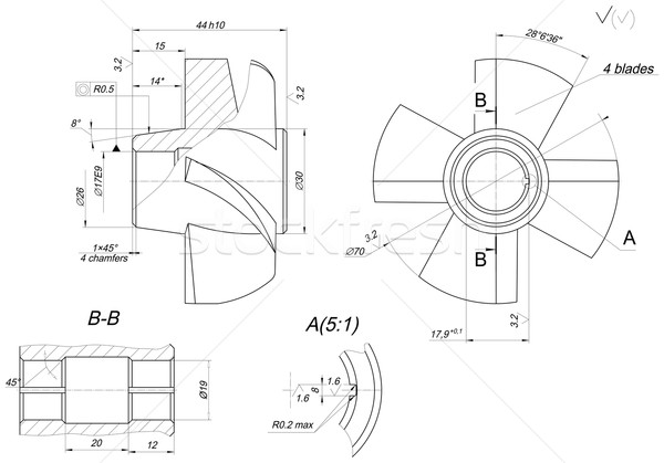 Engineering sketch of wheel with elements Stock photo © cherezoff