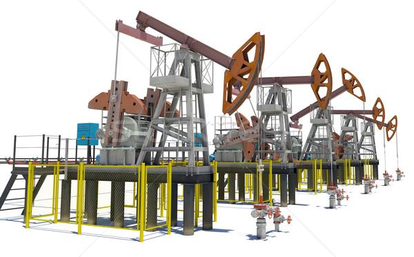 Oil pump-jacks. Isolated Stock photo © cherezoff