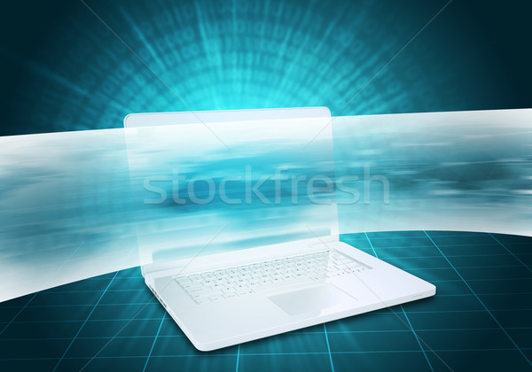 Virtual laptop and wide line Stock photo © cherezoff