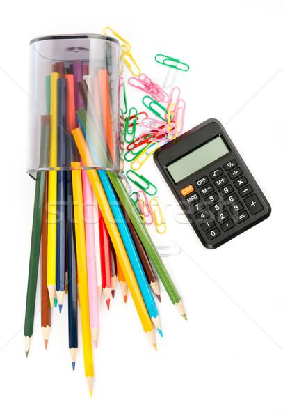Ceruza csésze zsírkréták számológép izolált fehér Stock fotó © cherezoff