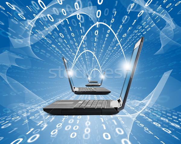 Ingesteld laptops Blauw abstract nummers technologie Stockfoto © cherezoff