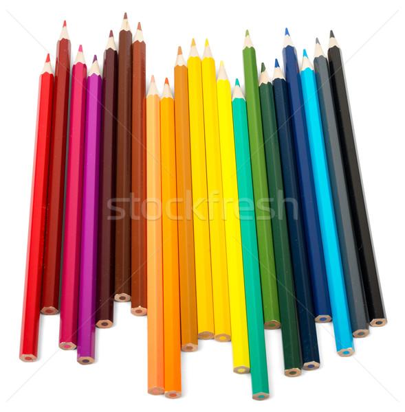 Renkli boya kalemleri beyaz ayarlamak yalıtılmış ahşap Stok fotoğraf © cherezoff