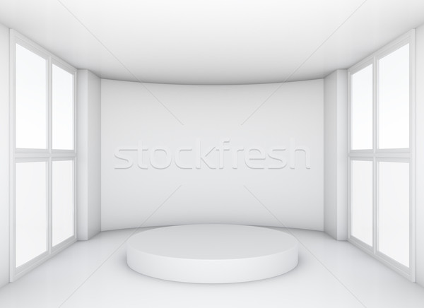 Pedestal in white clean room with windows Stock photo © cherezoff