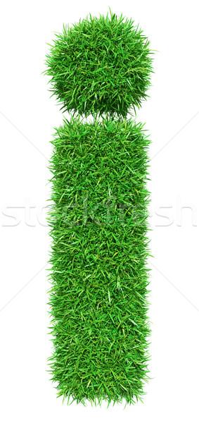 Yeşil ot mektup i yalıtılmış beyaz dizayn Stok fotoğraf © cherezoff