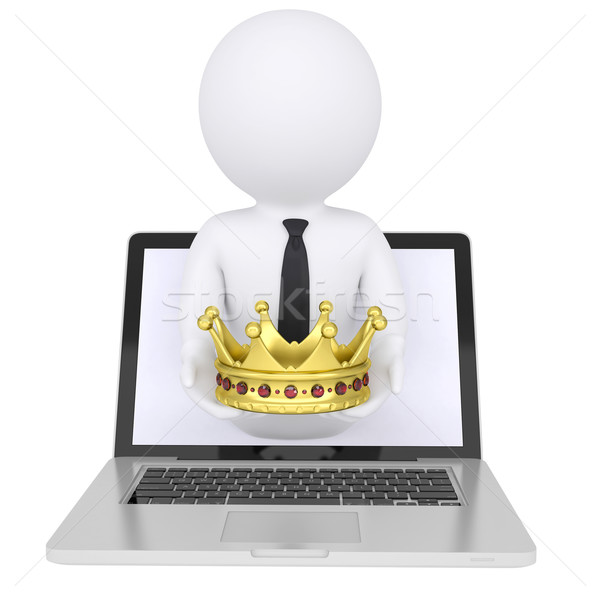 3d ember ki számítógép arany korona 3D Stock fotó © cherezoff