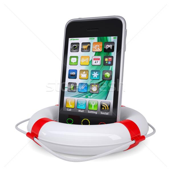 Smartphone reddingslijn geïsoleerd geven witte internet Stockfoto © cherezoff