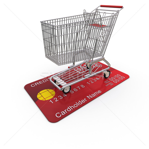Warenkorb Kreditkarte 3D Rendering Hintergrund Stock foto © cherezoff