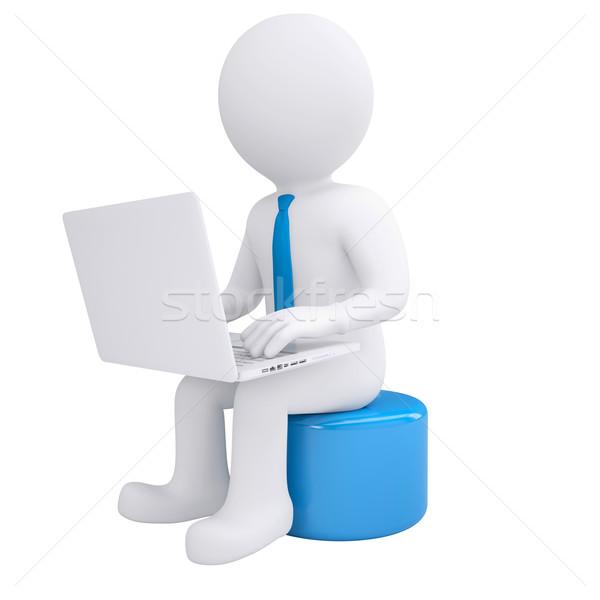 Zdjęcia stock: Biały · mężczyzna · 3d · pracy · laptop · oddać · komputera