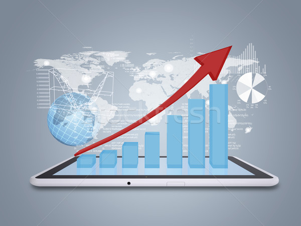 Tablet pc and growth chart on screen tablet Stock photo © cherezoff