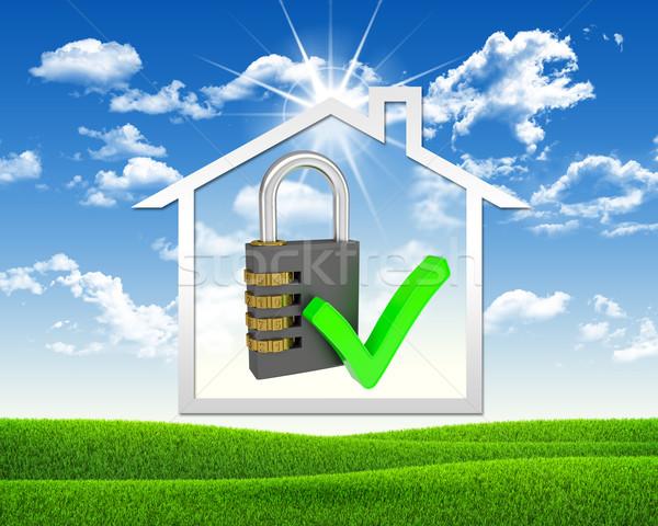 Domu ikona zamek szyfrowy zielona trawa Błękitne niebo działalności Zdjęcia stock © cherezoff