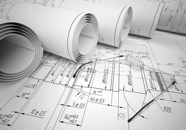 Ingeniería dibujos gafas dibujo industrial Foto stock © cherezoff