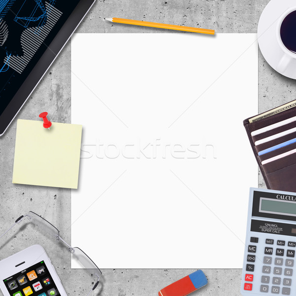 Blank paper with office and business work elements around Stock photo © cherezoff