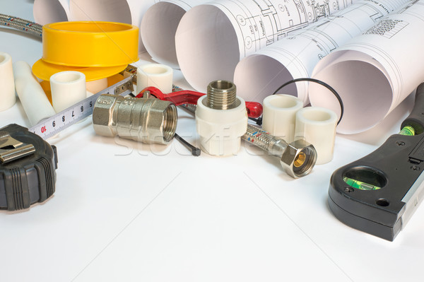 Stock photo: Drawing rolls, plumbing hardware tools, appliances and materials composition