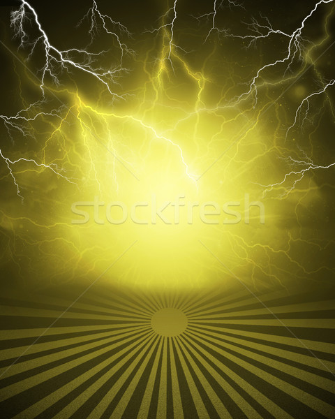 Abstract yellow background with lightning and stripes at bottom Stock photo © cherezoff