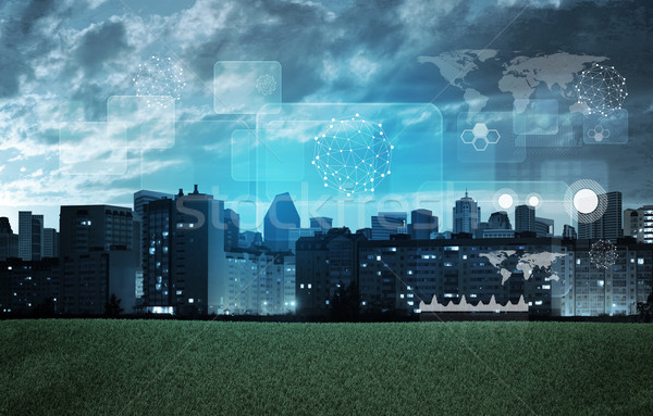 Városkép holografikus képernyő grafikus táblázatok város Stock fotó © cherezoff
