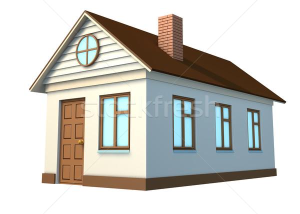 Casa blanca marrón techo aislado blanco vista lateral Foto stock © cherezoff