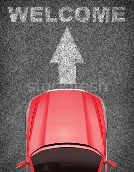 Car on grey texture background with arrow Stock photo © cherezoff