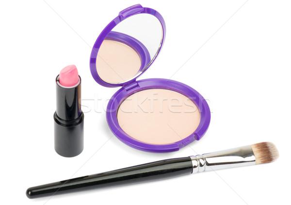 Isolated cosmetics accessories, brush, lipstick Stock photo © cherezoff