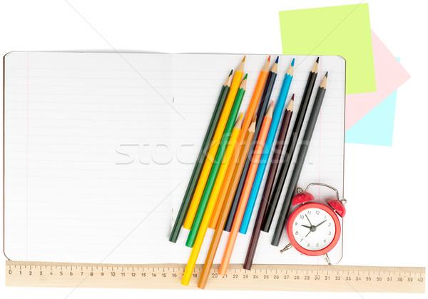 Сток-фото: открытых · ноутбук · набор · карандашей · будильник