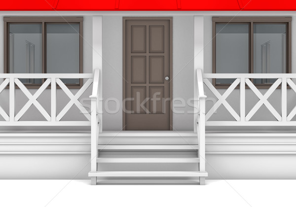 Close-up house with porch, door and windows Stock photo © cherezoff