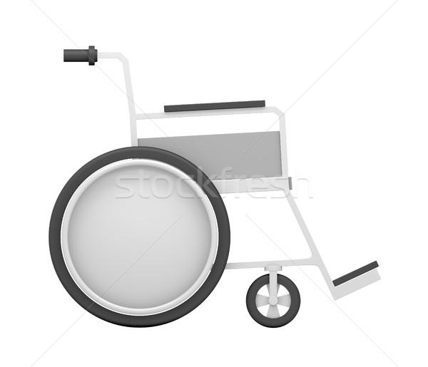Rolstoel geïsoleerd witte 3d illustration zwarte wiel Stockfoto © cherezoff