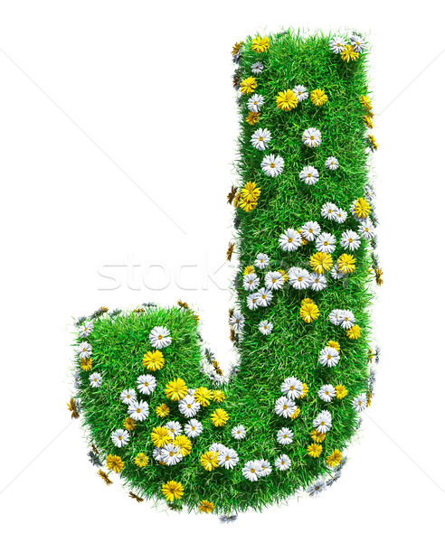 Letter J Of Green Grass And Flowers Stock photo © cherezoff