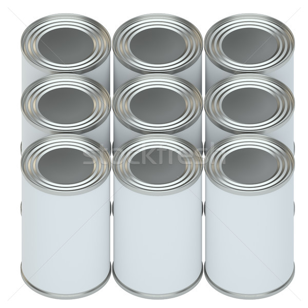 Group of metal tin cans with white paper labels Stock photo © cherezoff