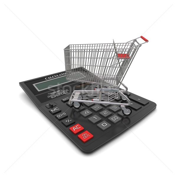 Foto stock: Comprador · calculadora · 3D · negocios · tienda