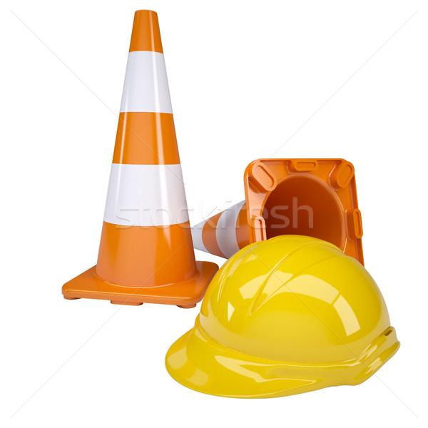 Traffic cone and helmet Stock photo © cherezoff