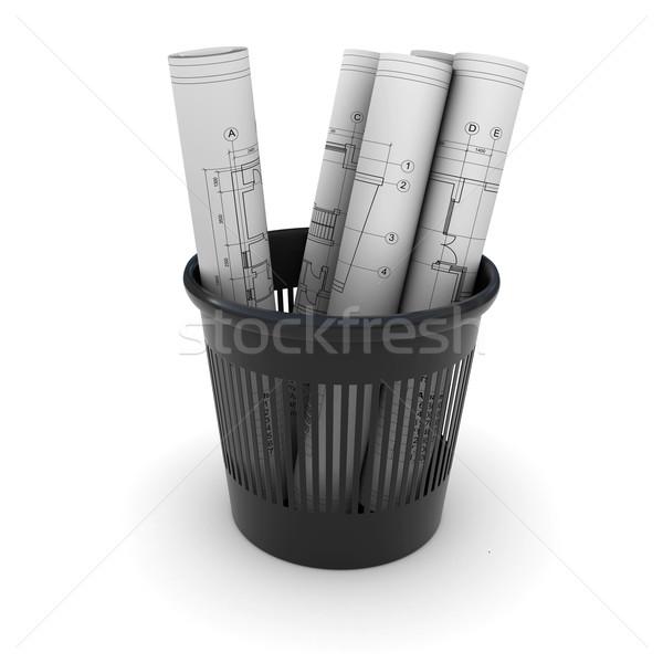 четыре выделите рисунок черный мусор 3D Сток-фото © cherezoff